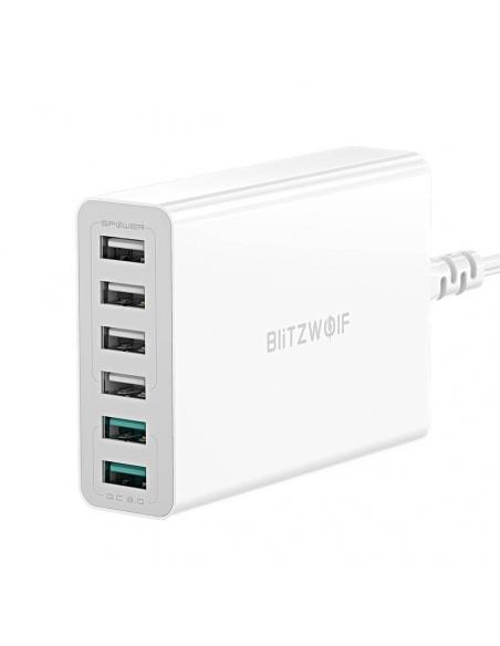 Ładowarka 6x USB Blitzwolf BW-S15, QC 3.0, 60W (biały)